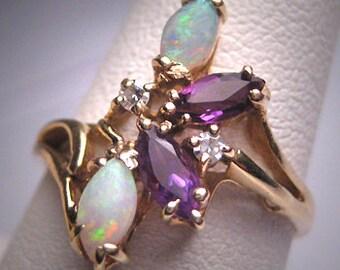 Vintage Australian Opal Diamond Amethyst Ring 14K Gold