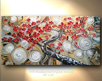 """Made to Order 72"""" Big Painting Enchanted Textured Tree of Life Abstract Painting Art Canvas oil Wall Decor Artwork Impasto art by OTO"""