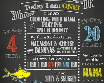 1st Birthday- Dr. Suess- One Fish Two Fish Red Fish Blue Fish- Chalkboard Print- Digital File Only
