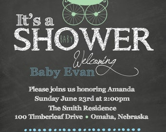 5X7- Baby Shower Chalkboard Invitation- High Resolution Digital File