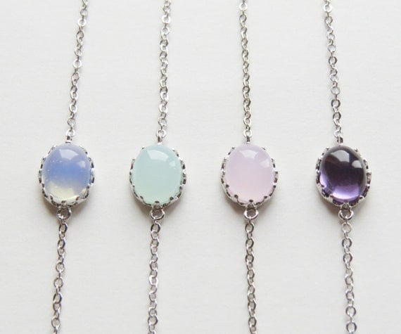 Opal Bracelets |  Amethyst bracelets | Oval stone bracelet on a silver plated chain | Christmas Gift | Black Friday | Gift For Her