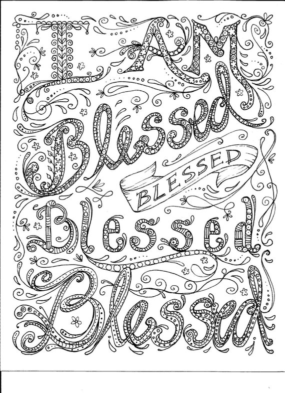 Instant Download Coloring Page Blessed By ChubbyMermaid On