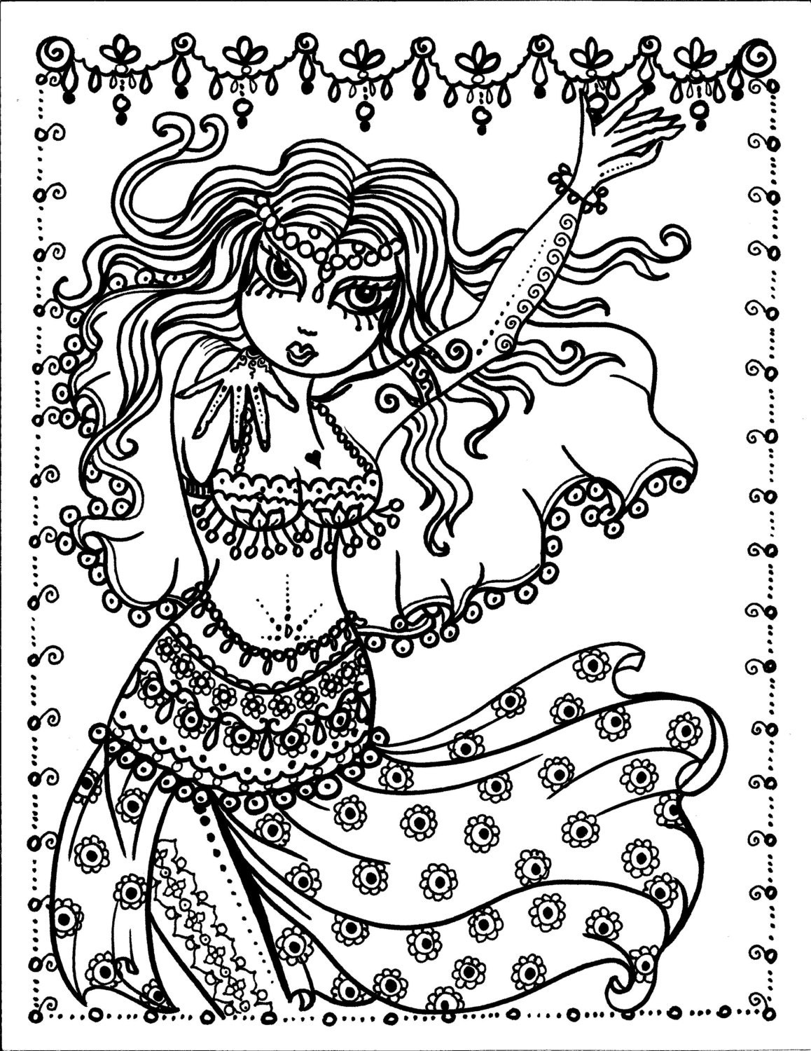 5 pages belly dancer coloring pages digital files instant
