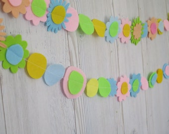 Garland - felt flowers garland , holiday decoration , wedding decoration - birthday decor- party decorations - wedding garland