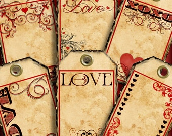 Valentine Love Tags Printable Instant Download Digital Collage Grunge Jewelry Card 289