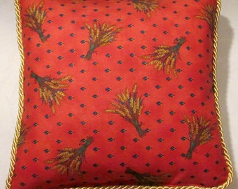 Provence Country French Pillow Red Blue Wheat Yellow Cottage Country