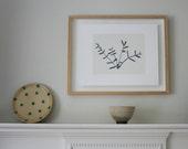 Art Print, small plant screenprint in black and white, 'Eucalyptus' original modern handmade art by Emma Lawrenson