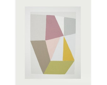 Silkscreen, abstract geometric art, summery colours, modern wall decor by Emma Lawrenson exhibited Royal Academy.