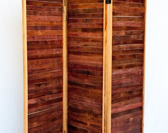 wine barrel room divider screens made from reclaimed wine tank wood folding screen
