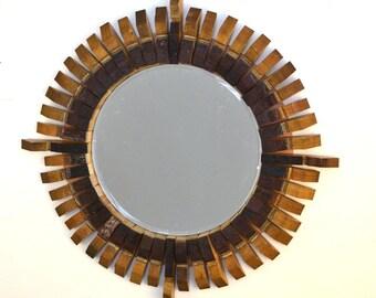 "MIRROR - ""Bussola"" - Wine Barrel Stave Mirror - 100% recycled"