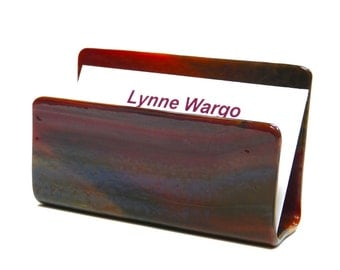 Business Card Holder, Maroon Streaky Glass