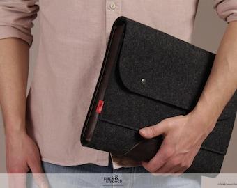 laptop case, macbook 13 inch case, wool felt, leather Corriedale SIZE M CO-M-ADB