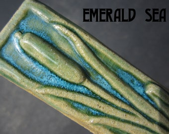 Ceramic Relief Cattail Tile made with high fire stoneware clay