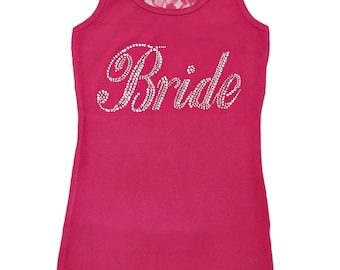 Bride Shirt . Bride Bling Tanks. Bride TO Be Gift. Bride Lace Tank Top in hot pink, light pink, purple, navy blue, aqua, white.