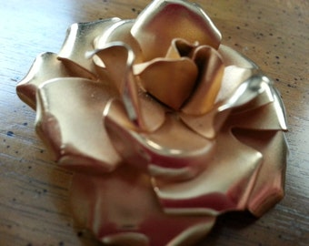 Vintage Napier Pin or Brooch Rose Blossom Gold Tone Metal