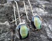 Golden Dichroic Glass and sterling silver dangle earrings. Handmade. Dichroic Glass earrings. Dangle earrings. Greenish blue earrings.