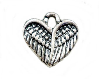 Small Angel Wing Heart charms - Bulk Sets of 25, 50, 75, or 100 - Antique Silver