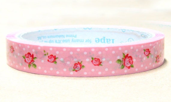 Shabby Rose polka dots Deco Tape adhesive Stickers on pink DT321