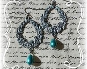 Antique Patina Rose Pattern with Aqua Teardrop Pearl Dangle Earrings
