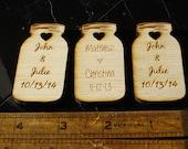 40 Mason Jar Wedding favors Personalized Wood Cut out