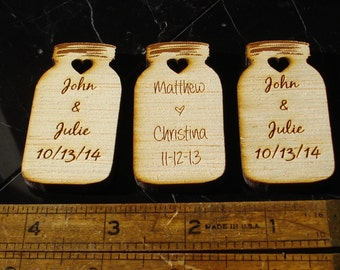100 Mason Jar Wedding favors Personalized Wood Cut out