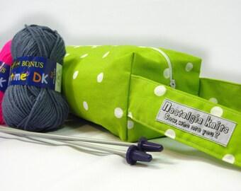 Knitting bag and starter kit - green spotty