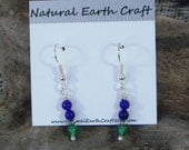 Green aventurine and purple amethyst earrings semiprecious stone jewelry packaged in a colorful gift bag 2546