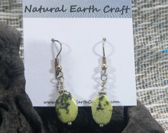 Yellow green African turquoise earrings semiprecious stone jewelry packaged in a gift bag 2421