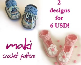 Crochet pattern baby booties - Two unique designs for boys and girls Permission to sell finished items. PDF pattern full of large pictures!