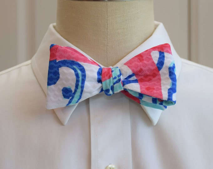 Men's Bow Tie, She She Shells Lilly print, blue/pinkish-red/white ocean theme bow tie, wedding bow tie, groom bow tie, prom bow tie,