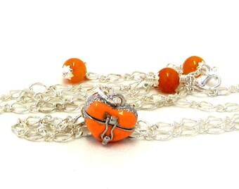Graduation Gift / Graduation Necklace / Graduation Jewelry / Orange Locket / Inspirational Jewelry / Prayer Box Jewelry
