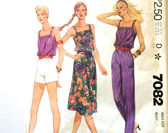 80s McCall's 7082 Camisole, Skirt, Dress, Straight Leg Pants, Shorts with Square Neckline, Straps Size 16 Bust 38