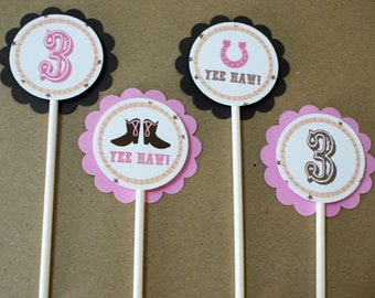 Cowgirl Birthday Party Cupcake Toppers - Pink and Brown Stars, Boots, and Horseshoes