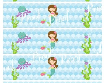 Girl's under the sea mermaid party water bottle wrap around labels instant download digital file - DIY