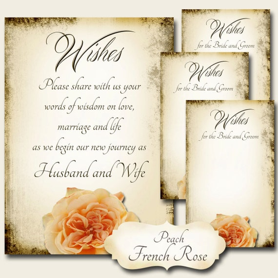 Peach FRENCH ROSE Set Of Wedding Wish Sign And Tags Wish Tree