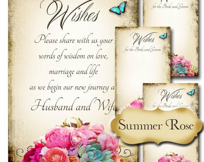 SUMMER ROSE, Set of Wedding Wish Sign and Tags, Wish Tree Cards, Printable,DIY Weddings, Bridal Shower, Wedding Shower, Wedding Decoration