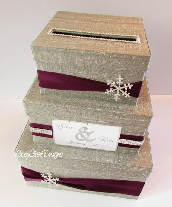 Wedding Card Box Winter Wedding Reception by LaceyClaireDesigns