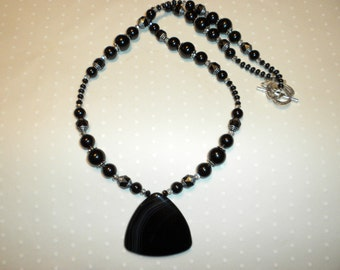 Black Agate Pendant Necklace