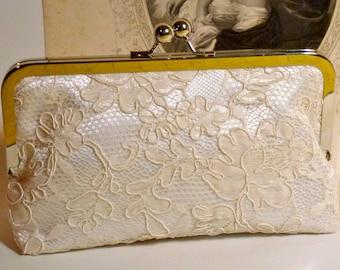Bridal Clutch Ivory Lace Overlay Alencon Cabbage Rose Wedding