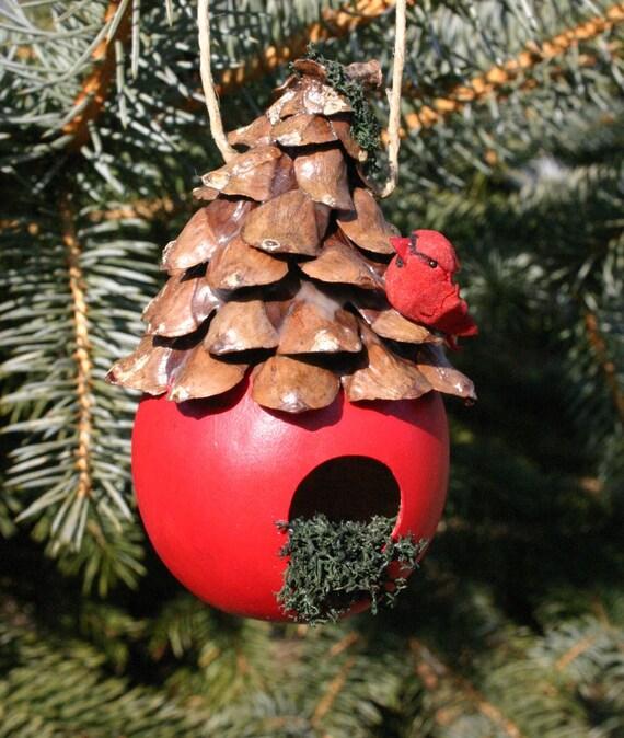 Birdhouse Christmas Tree Ornaments : Christmas birdhouse gourd ornament holiday red bird