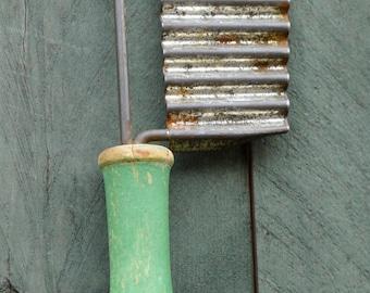 vintage kitchen - wooden handled potato/veggie slicer - green - rustic kitchen utensil