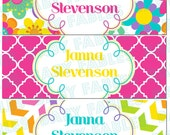 Personalized Waterproof Labels Waterproof Stickers Name Label Dishwasher Safe Daycare Label School Label - Bright Flowers, 30 piece set