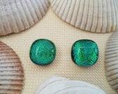 Green Dichroic Stud Earrings, Fused Dichroic Glass Post Earrings, Dichroic Glass Jewelry - Emerald Green