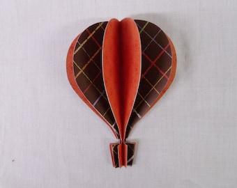 """3d Hot Air Balloon 5"""" -  brown plaid, orange,"""