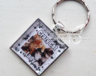 Crazy Cat Lady Glass Tile Key Ring