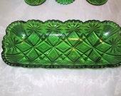 Antique Green Eapg Celery Dish Blazing Pinwheel Pattern aka Shoshone By U. S. Glass Co. 1898