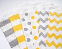 Yellow and Gray - QTY 12 - Treat Bag - Baked Goods Bag - 5x7 - Favor Bag