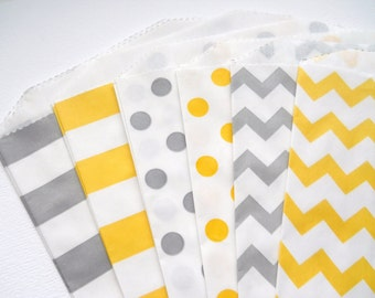 Yellow and Gray - QTY 12 - Treat Bag - Baked Goods Bag - 5x7 - Favor Bag