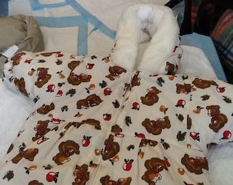 Vintage KIDS N FUN 18 Month Snowsuit With Teddybears Apples and Pears Matching Booties