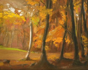 Autumn Woods 5 - Original Pastel and Chalk Drawing
